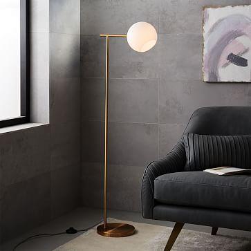 Staggered Glass Floor Lamp, Brass/Milk
