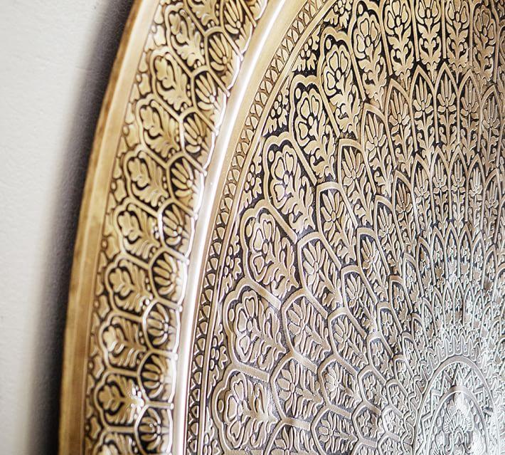 "Decorative Metal Disc, 38"", Brass"