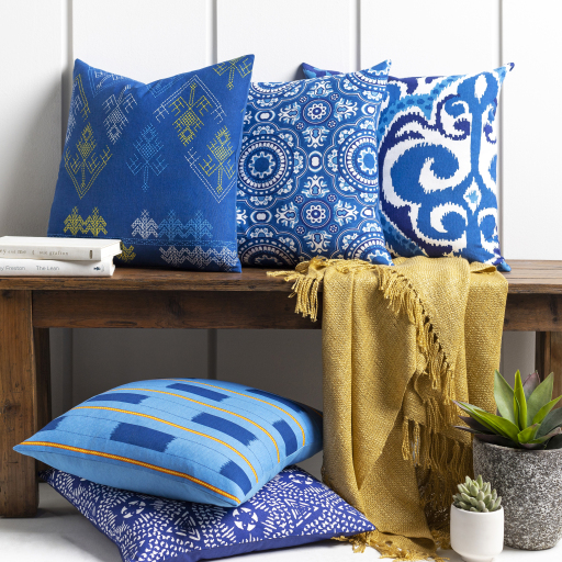 """Global Blues - GLB-005 - 18"""" x 18"""" - pillow cover only"""