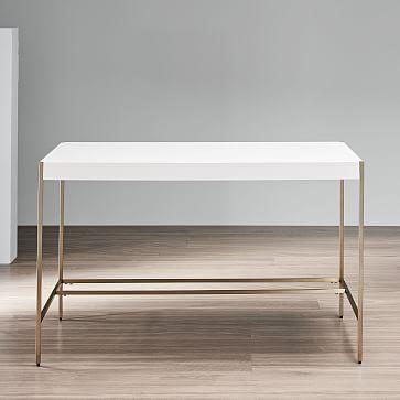 Zane Desk, White Lacquer/Antique Brass