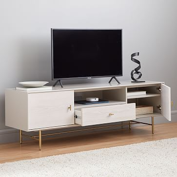 """Modernist Wood + Lacquer Media Console, 68"""", Winter Wood"""