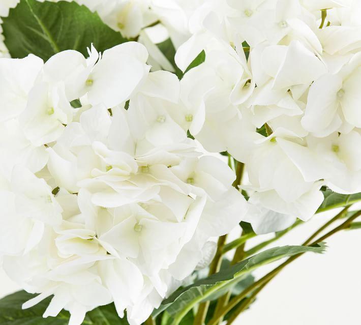 Faux Hydrangea Stem, White
