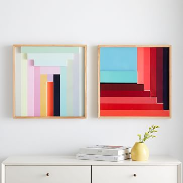 Margo Selby Colorblock Lacquer Square Wall Art, Set of 4