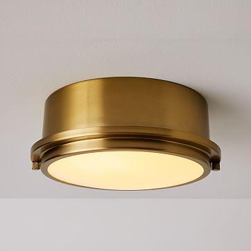 Metal Ring Flushmount, Antique Brass
