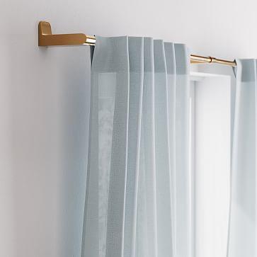 "Sheer European Flax Linen Curtain, Washed Blue Gemstone, 48""x84"""