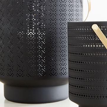 Modern Porcelain Lantern, Charcoal Gray, Small