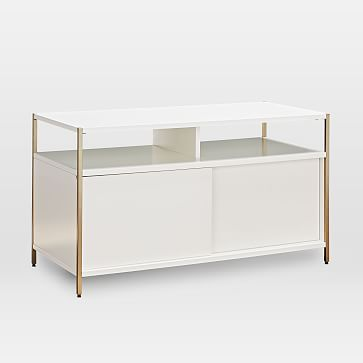 Zane Wide Bookshelf, White/Antique Brass