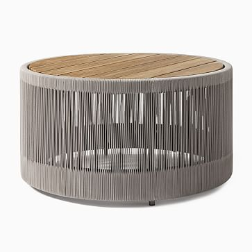Porto Round Coffee Table, Driftwood, Warm Cement