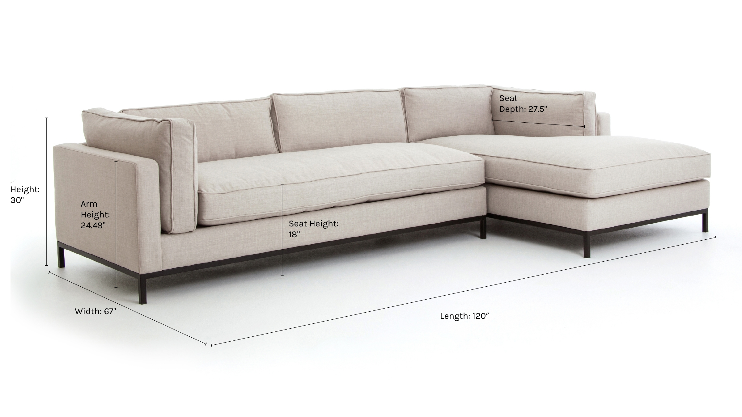 Fritzie Right-Facing Sectional, Natural