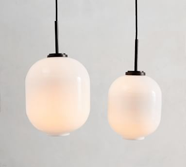 Bryn Milk Glass Round Pendant, Large