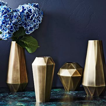 Faceted Deco Metal Vase, Antique Brass, Bud