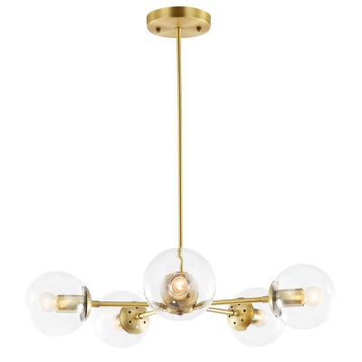Light Society Grammercy 5-Light Brass/Clear in Chandelier