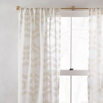 """Sheer Clipped Jacquard Geo Curtain, Alabaster, 48""""x96"""""""