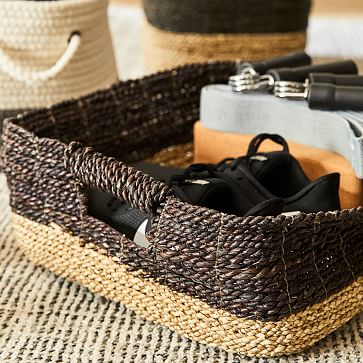 Two-Tone Woven Console Basket, Black/Tan