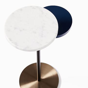Eclipse Drink Table, Walnut & Marble & Antique Bronze