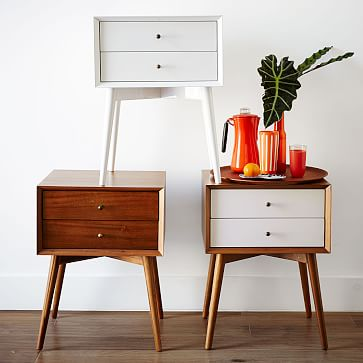Mid-Century Nightstand, White Lacquer, Set of 2