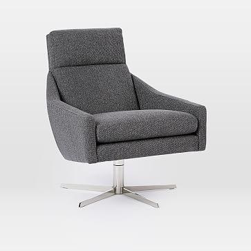 Austin Swivel Chair, Performance Velvet, Ink Blue