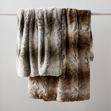 """Faux Fur Brushed Tips Throw, 47""""x60"""", Pearl Gray"""
