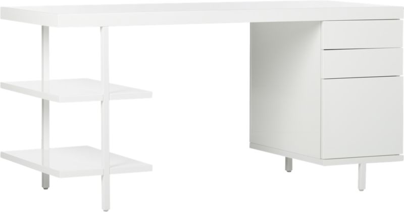 Stairway Modular Desk with Shelves and Drawers White