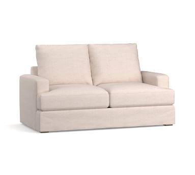 "Canyon Square Arm Slipcovered Sofa 82"", Down Blend Wrapped Cushions, Performance Slub Cotton Stone"