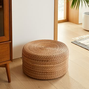 Modern Weave Basket, Round Lidded, Small, Natural