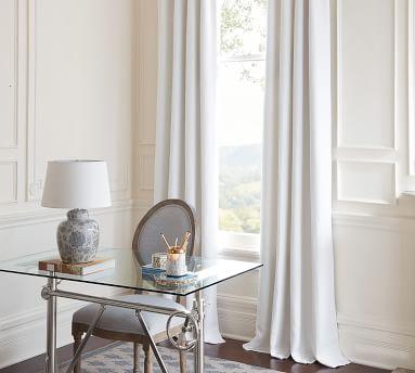 "Custom Classic Belgian Flax Linen Rod Pocket Blackout Curtain, White, 66 x 96"""