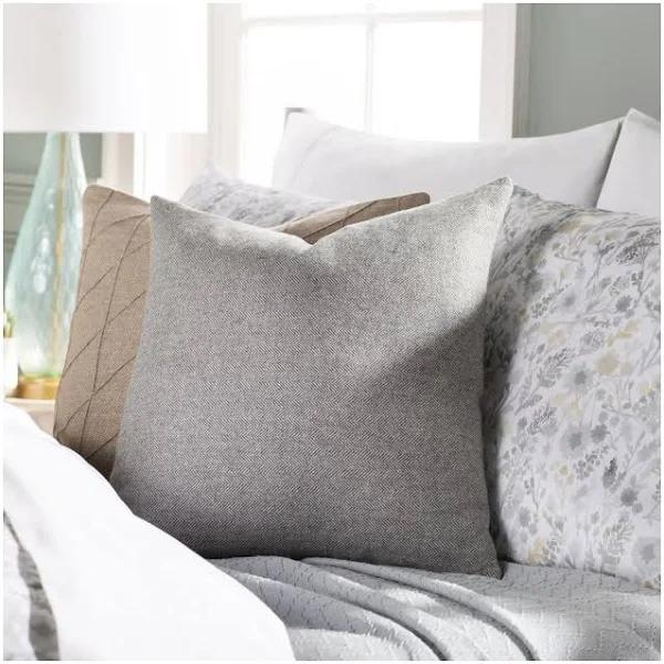 "Wells Pillow, 18"" x 18"", Charcoal"