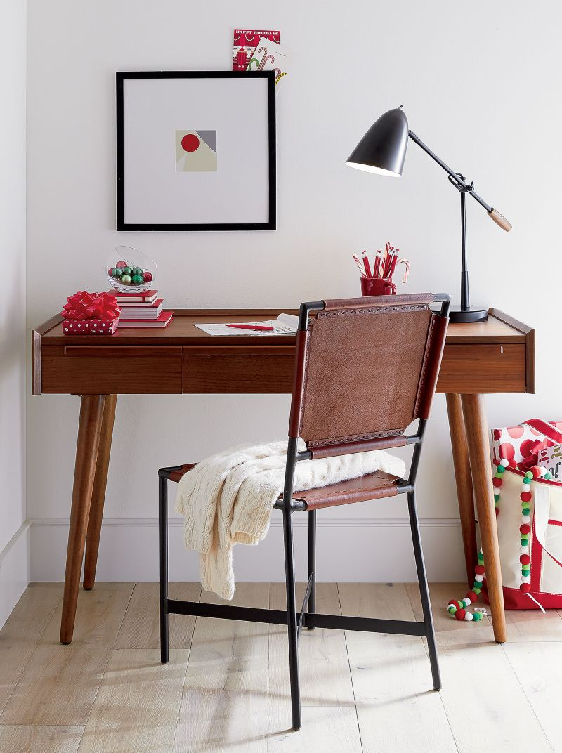 """Tate 48"""" Walnut Desk with Power Outlet"""