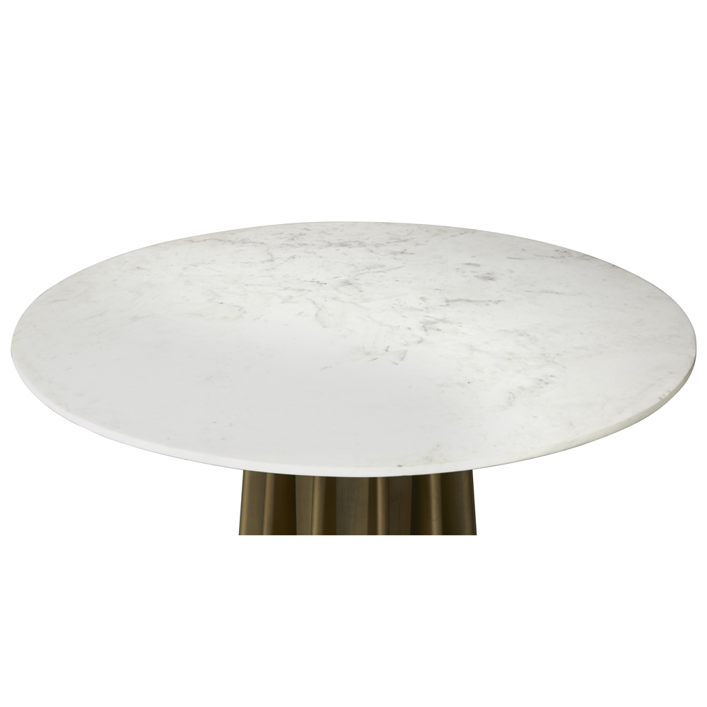 Aurora Hollywood Regency White Marble Antique Brass Round Dining Table