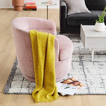 Viv Swivel Chair, Light Pink, Distressed Velvet-Individual