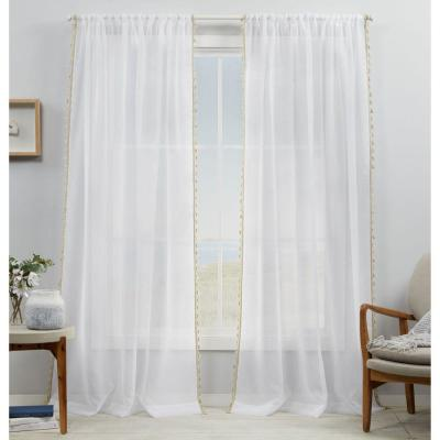 Amalgamated Textiles Tassels Sheer 54 in. W x 84 in. L Rod Pocket Top Curtain Panel in Linen (2 Panels)