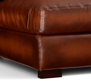 """Turner Square Arm Leather Sofa 3-Seater 85.5"""", Down Blend Wrapped Cushions, Vegan Java"""