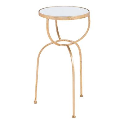 ZUO Hera Gold Side Table, Mirror & Gold