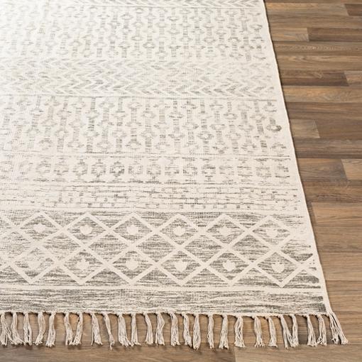 Jaylah Coastal Beach Beige Cotton Patterned Rug - 8' x 10'