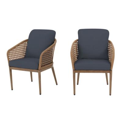 Hampton Bay Coral Vista Brown Wicker Outdoor Patio Dining Chair with CushionGuard Sky Blue Cushions (2-Pack)
