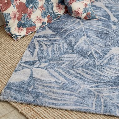 Roxy Palm Leaf Rug, 8'x10', Blue Multi