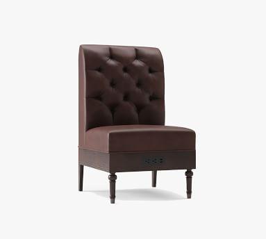 Hayworth Leather Corner Banquette, Black Legs, Statesville Indigo