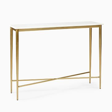 Neve Zina Console, Marble + Antique Brass