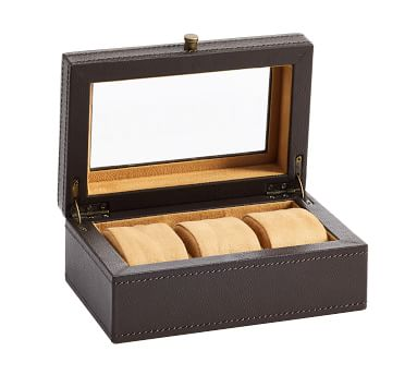 Grant Leather Watch Box, 3 Slot, Brown