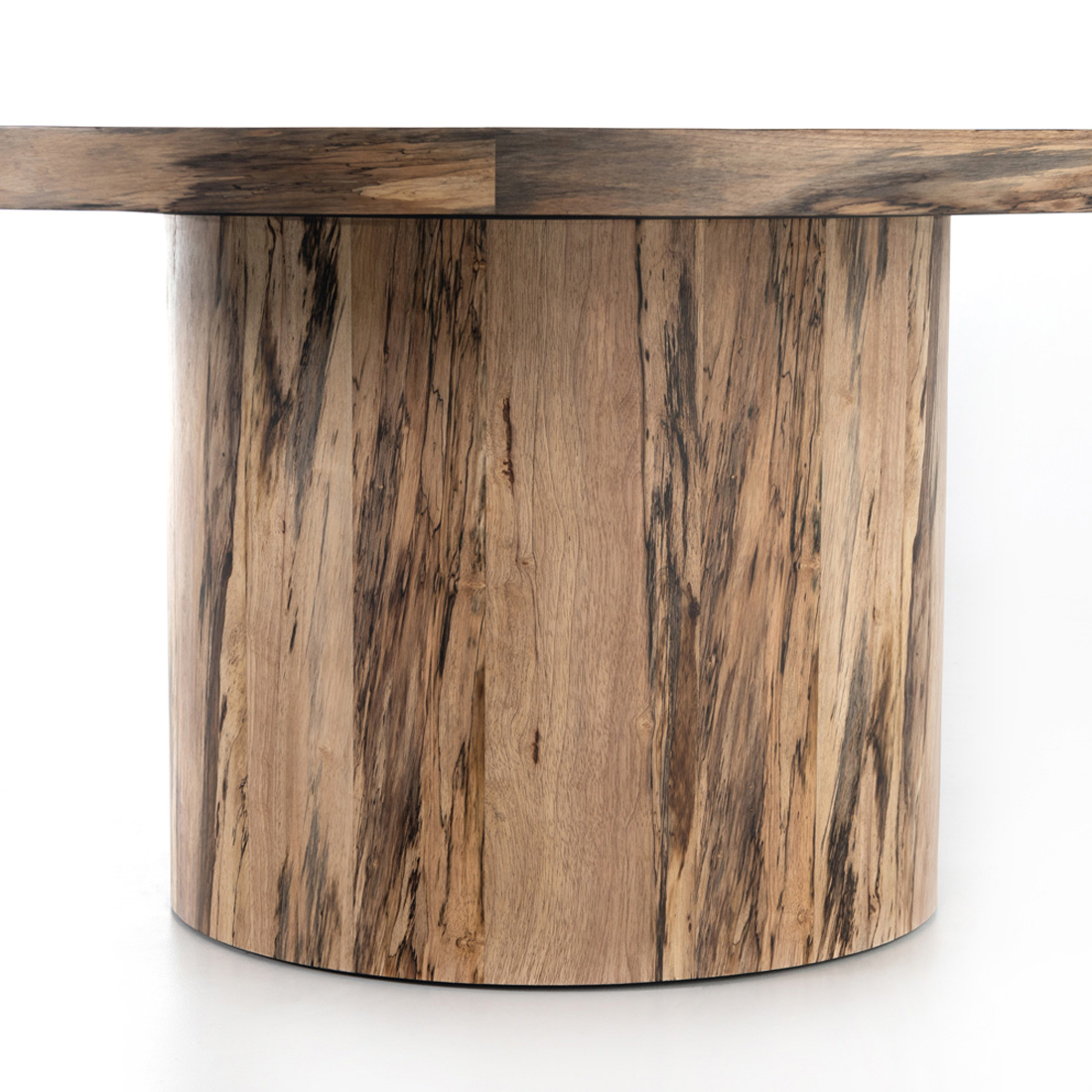 Chase Rustic Lodge Brown Primavera Wood Round Pedestal Classic Dining Table