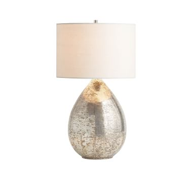 """Mila Antique Mercury Table Lamp with Large Gallery Straight Sided Shade, 26"""", White"""