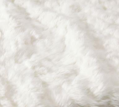 "Faux Fur Throws, 50 x 60"", Ivory Wavy Alpaca"