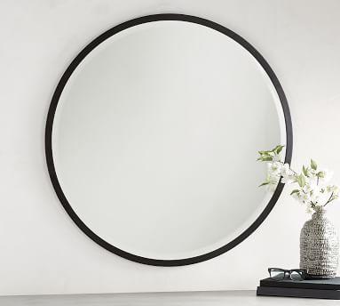"Layne Oversized Round Mirror, Silver, 50"""