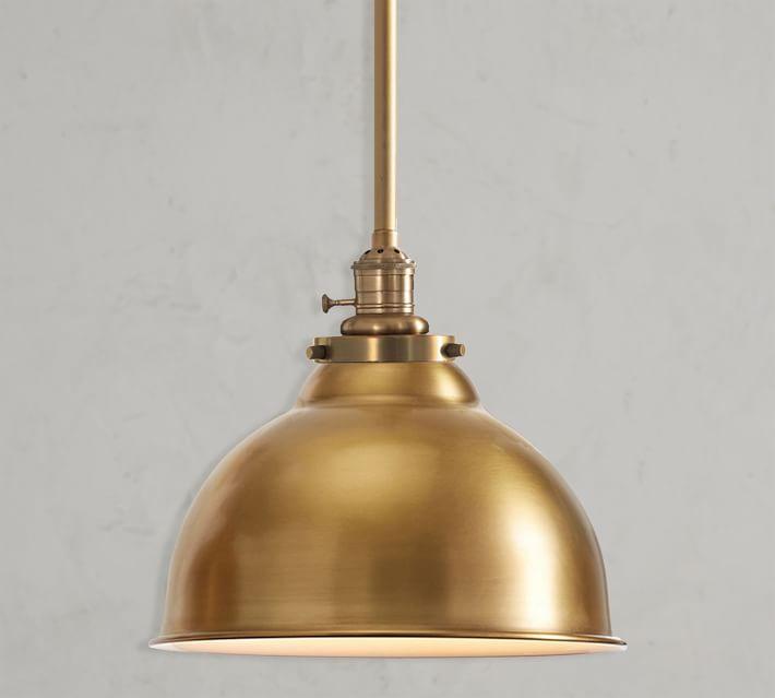 PB Classic Metal Bell Pendant Hood + 6' Brass Pole Kit, Large