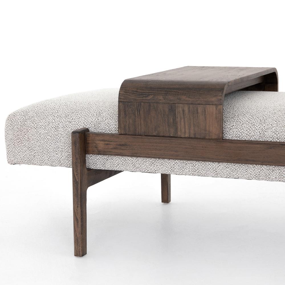 Odi Mid Century Modern Grey Upholstered Seat Cushion Brown Wood Bench