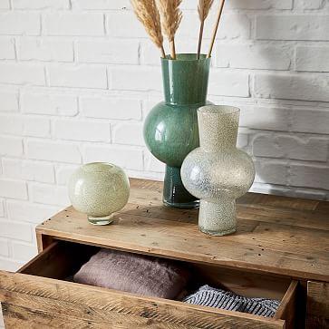 Jade Colored Glass Vases Set of 3, Small & Medium & Large