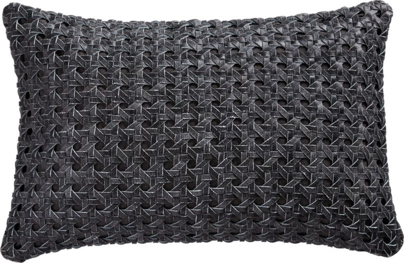 """18""""x12"""" Grey Woven Leather Pillow with Down-Alternative Insert"""