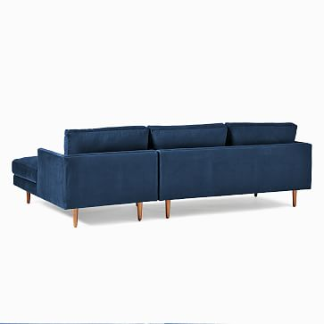 Haven Loft Set 01: LA Sofa, RA Chaise, Trillium, Performance Washed Canvas, White, Pecan