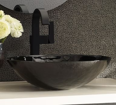 """Rilen 30"""" Hancrafted Single Sink Vanity with Glass Sink, Midnight/Pearl"""
