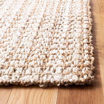 Grid Jute Rug, 9'x12', Ivory & Light Brown